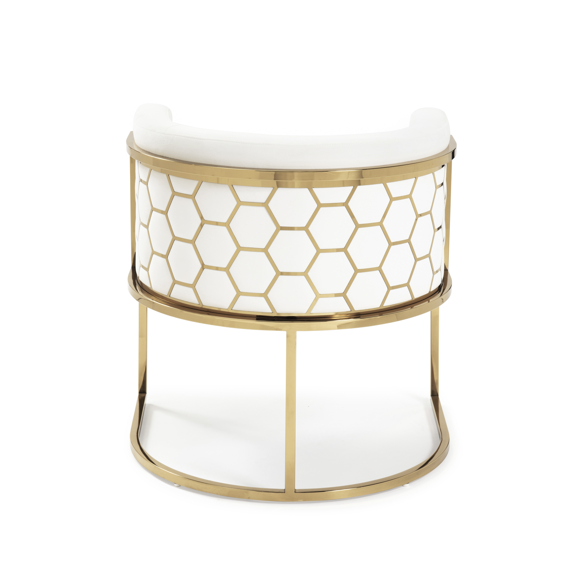 Barcelona Brushed Velvet Pearl White Dining Chair with a Gold Steel Frame