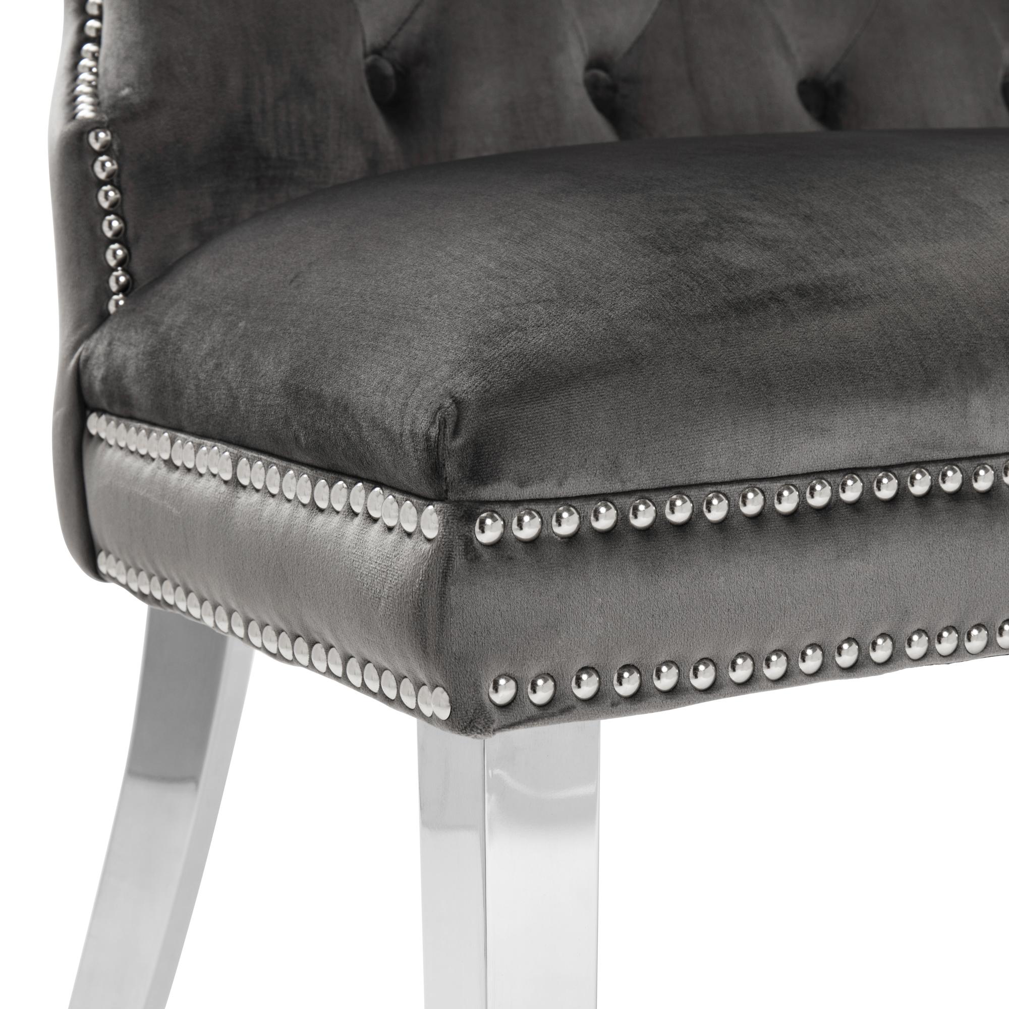 2 Seater Grey Brushed Velvet Upholstered Dining Bench