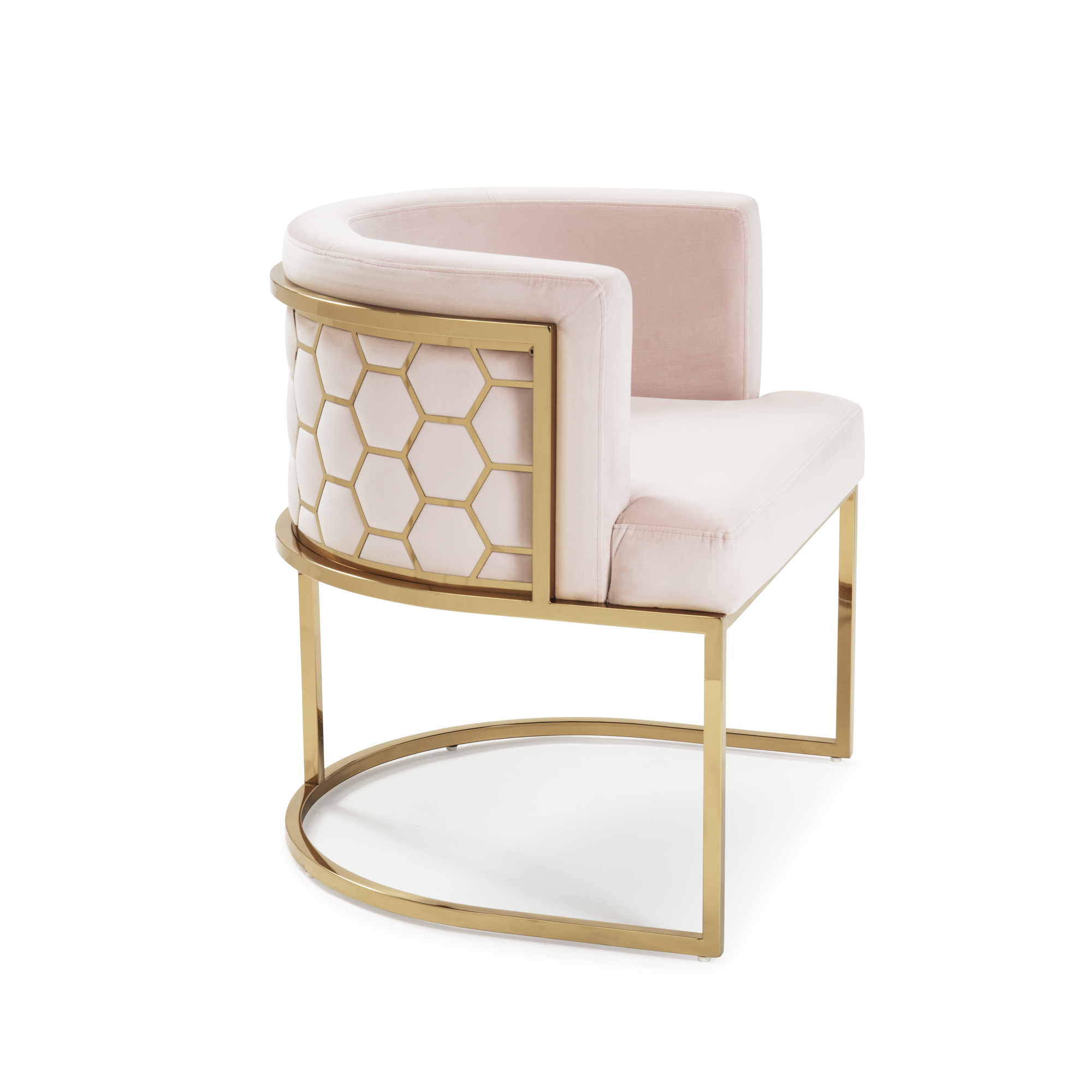Barcelona Blush Pink Brushed Velvet Dining Chair with a Gold Steel Frame