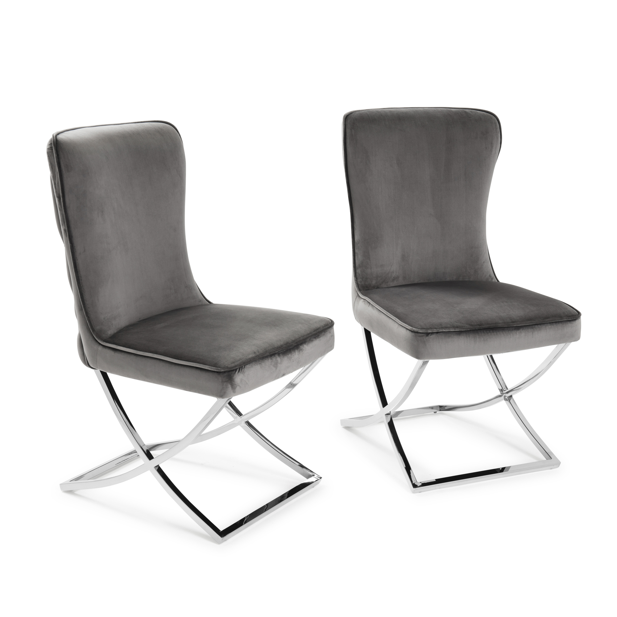 Pair of Cheshire Grey Brushed Velvet Dining Chair with a Stainless Steel Cross Leg