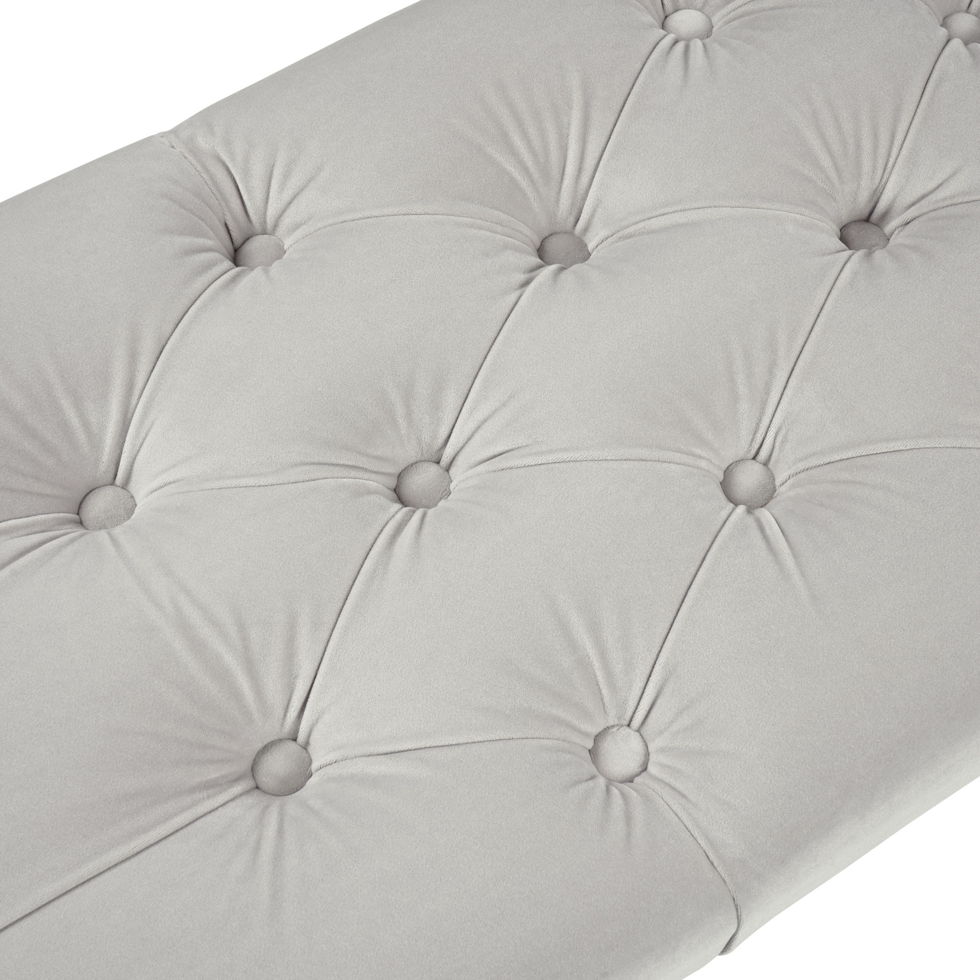 Richmond Upholstered Dove Grey Tiffany Velvet Dining Bench – Steel Legs
