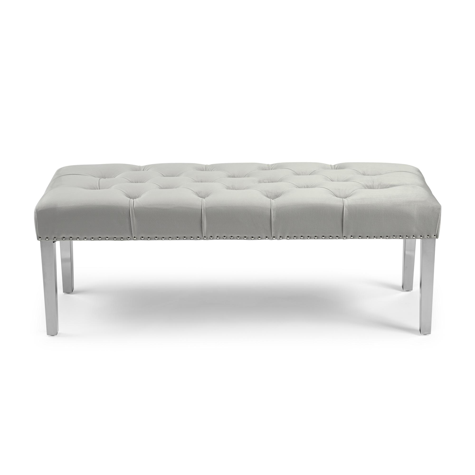 Richmond Upholstered Dove Grey Brushed Velvet Dining Bench – Steel Legs