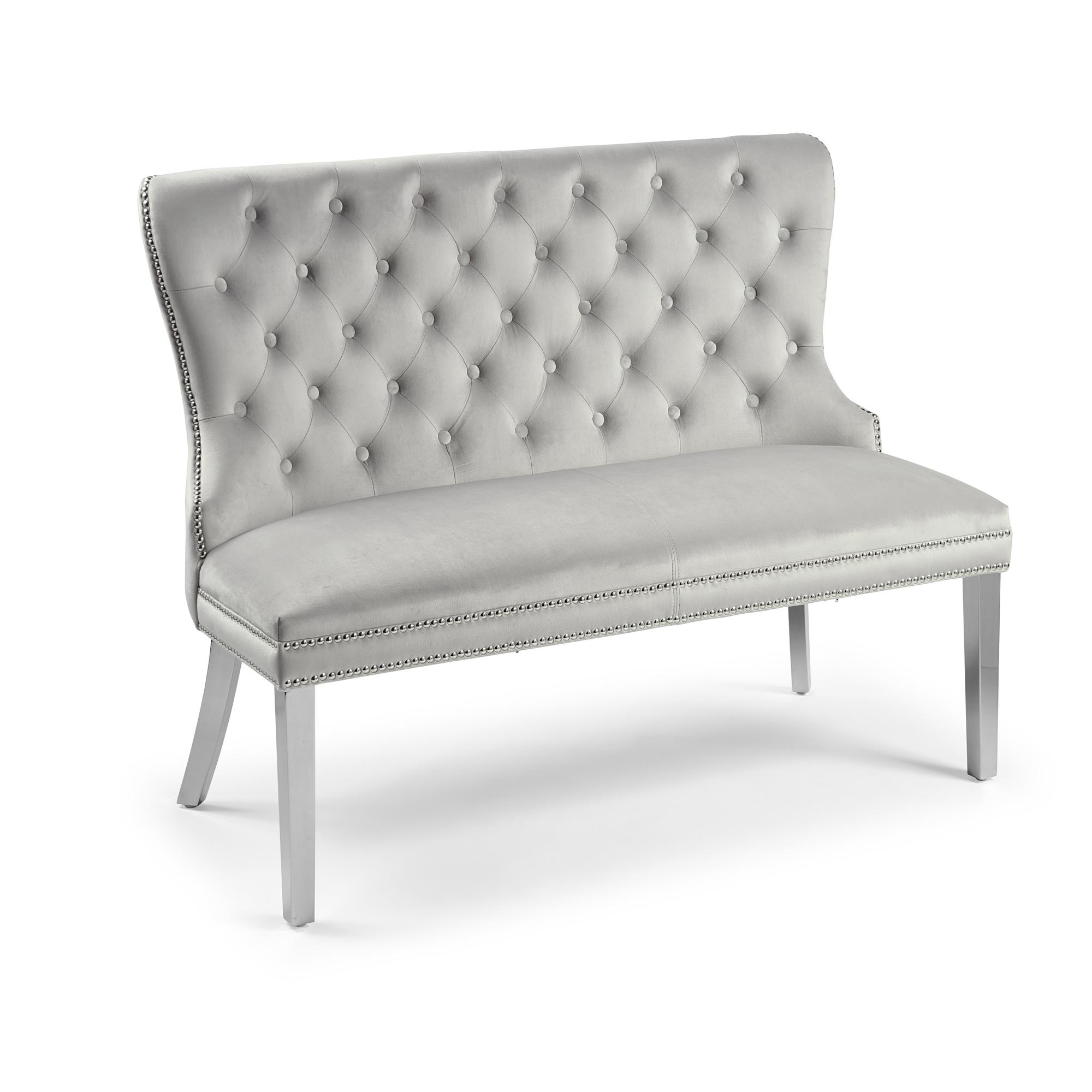 2 Seater Dove Grey Brushed Velvet Upholstered Dining Bench