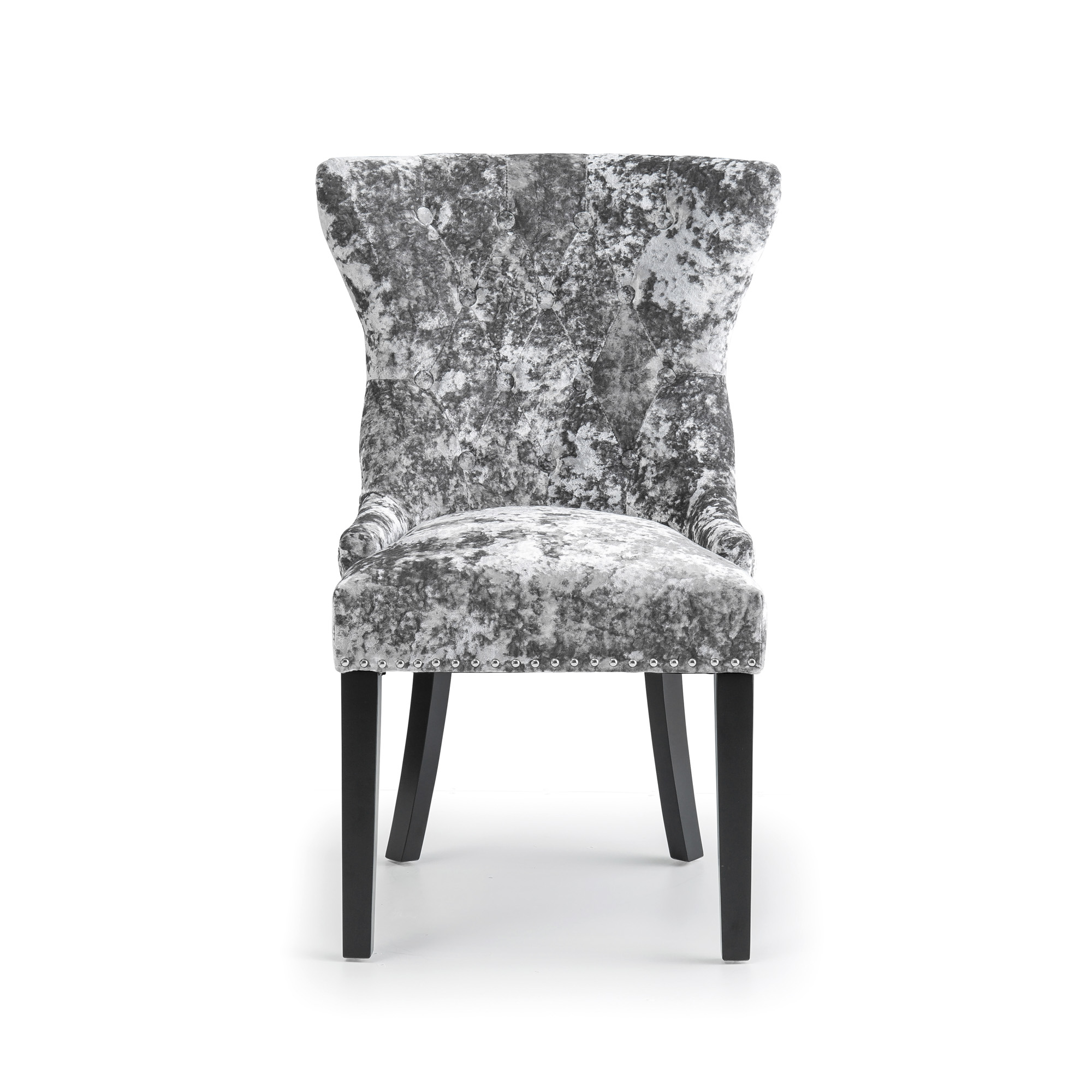 Premium Grey Crushed Velvet Dining Chair with Black Legs