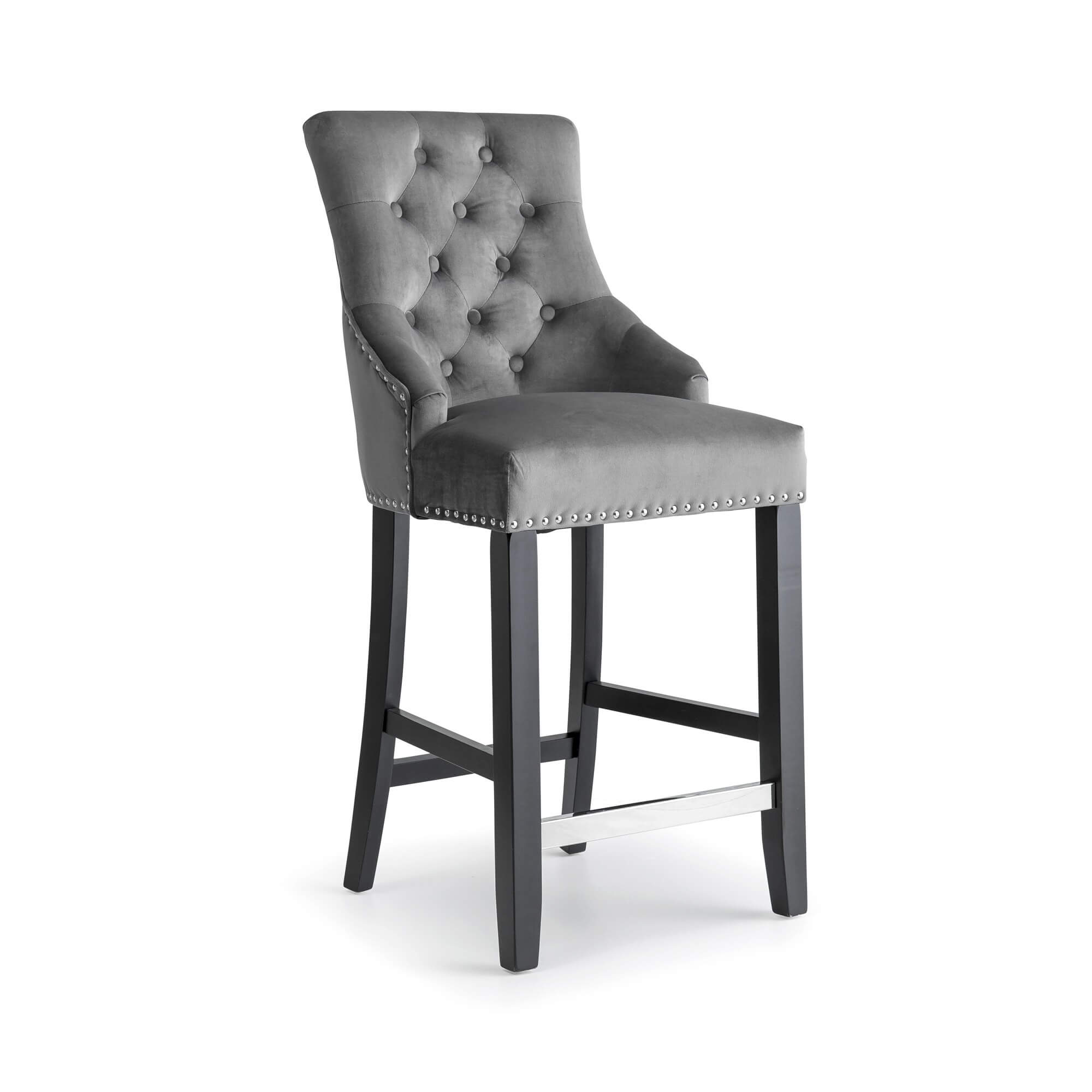 Grey Brushed Velvet Bar Stool with Polished Steel Footrest