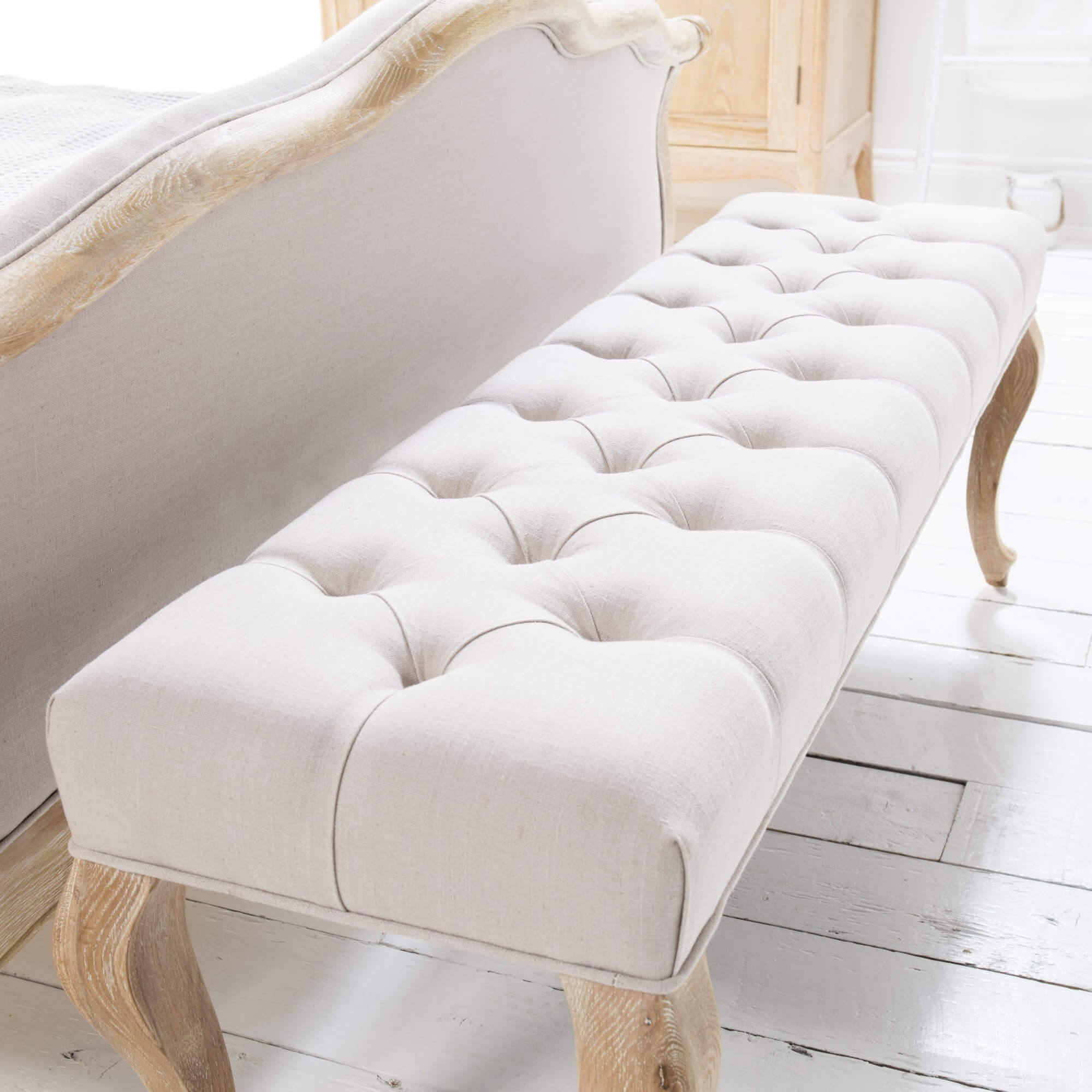 French Oak Carved Louis Bench (Weathered White Wash Finish)