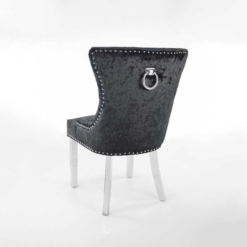 Knightsbridge Black Crushed Velvet Dining Chair with Polished Stainless Steel Legs