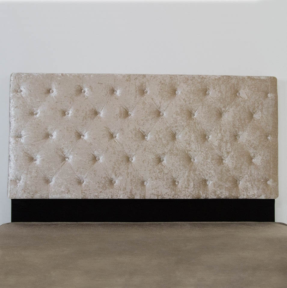 Super King Size Headboard with Beige Crushed Velvet Upholstery