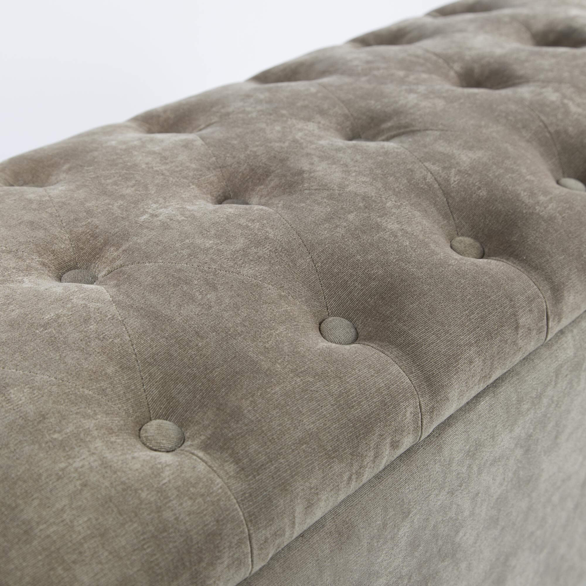 Champagne Brown Upholstered Buttoned Ottoman