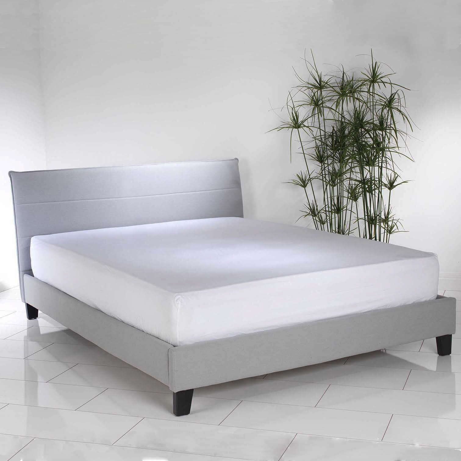 Luxury Upholstered Blue Linen Low King Size Bed