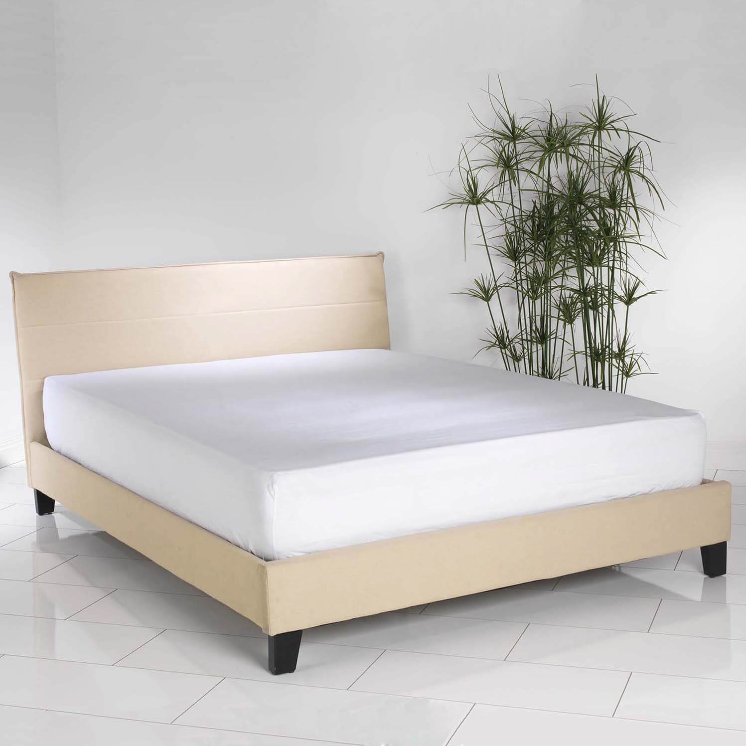 King Size Sand Linen Upholstered Modern Bed