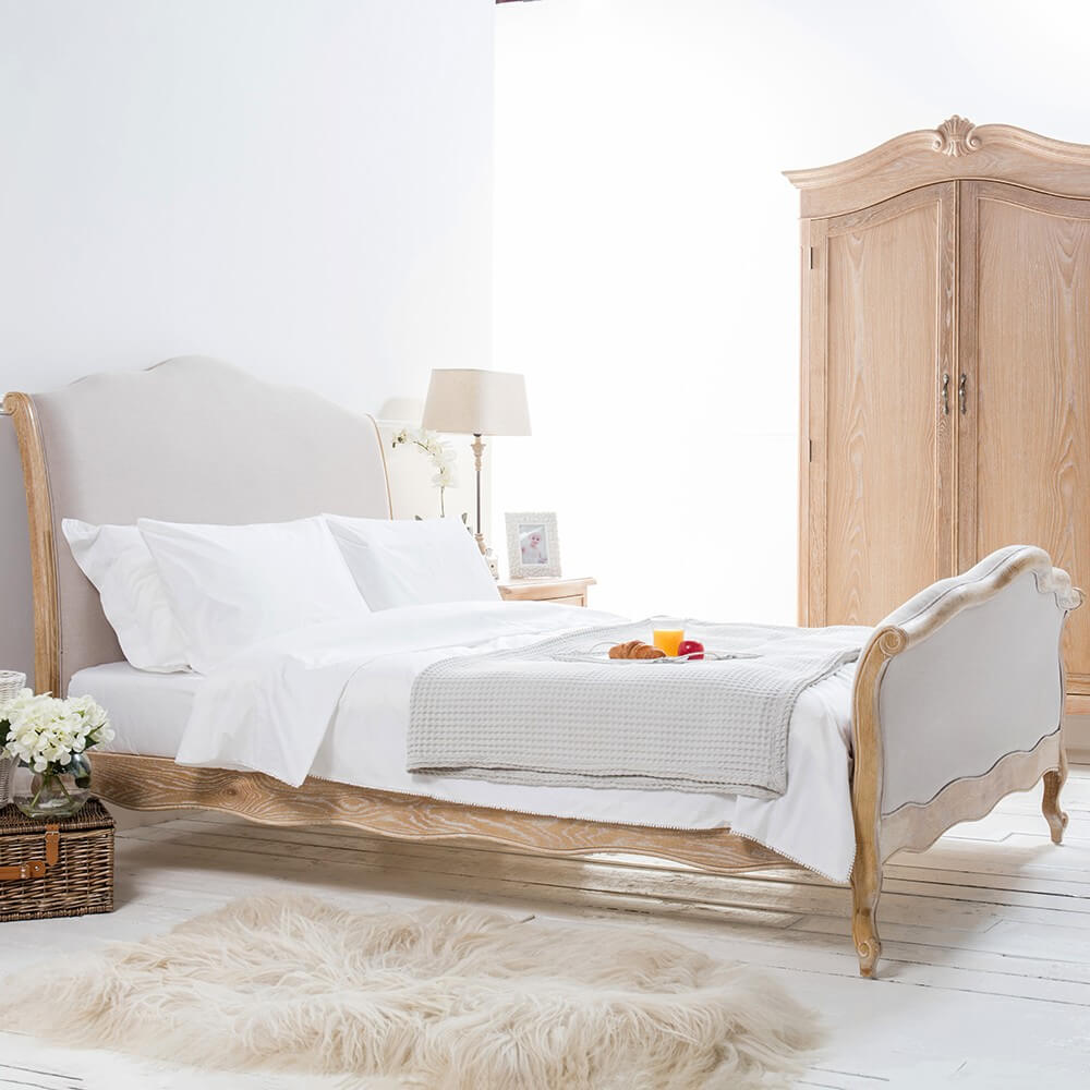 French Weathered Limed Oak Linen Upholstered Curved Bed – King Size