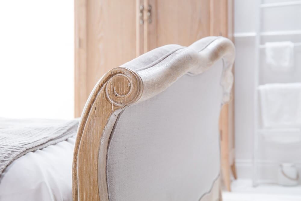 French Weathered Limed Oak Upholstered Curved Bed – Double Size