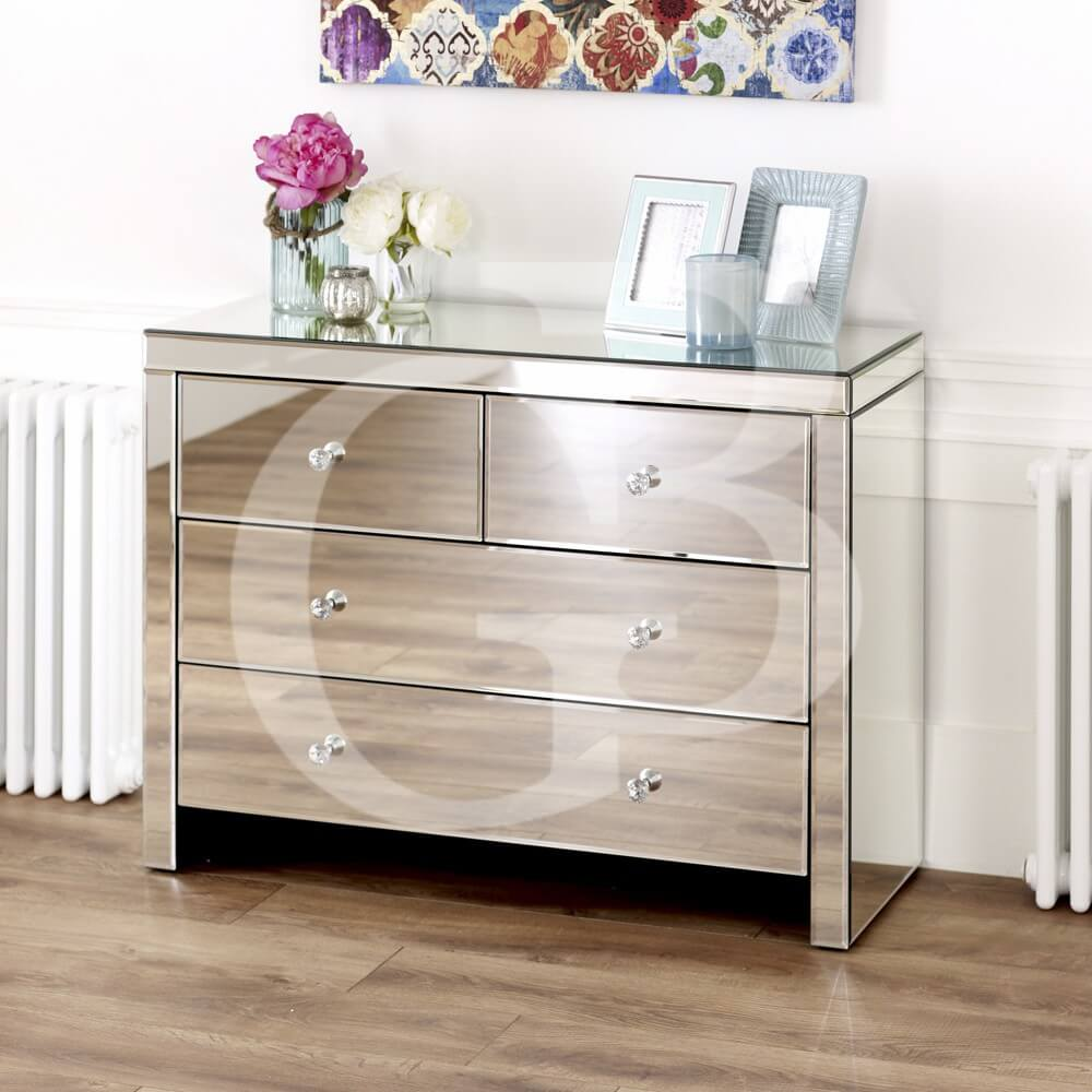 Venetian Mirrored 2 over 2 drawer chest