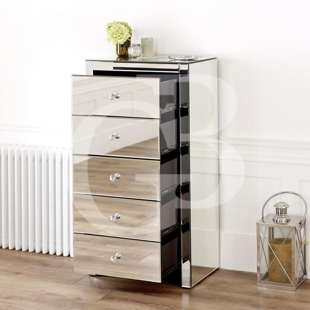 Venetian Mirrored 5 Drawer Tallboy