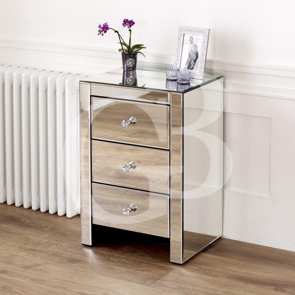 Venetian Mirrored 3 Drawer Bedside
