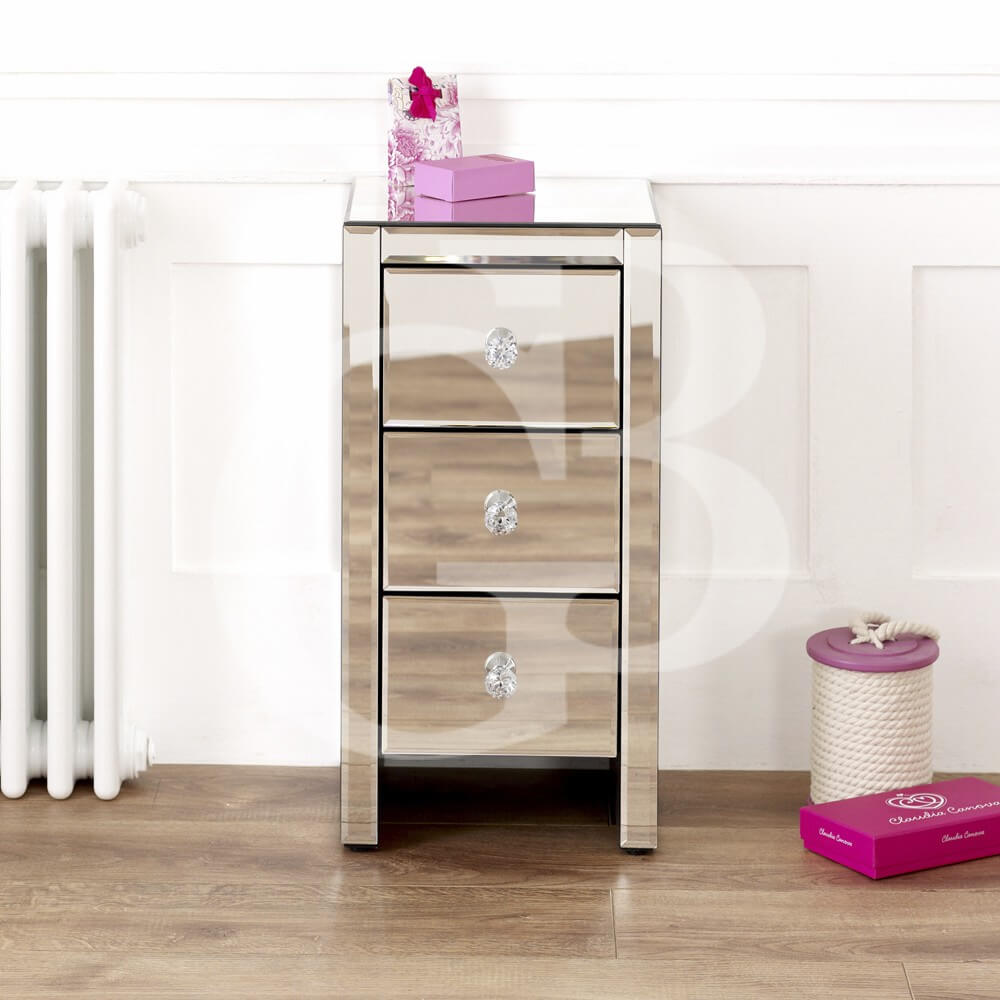 Venetian Mirrored 3 Drawer Slim Bedside