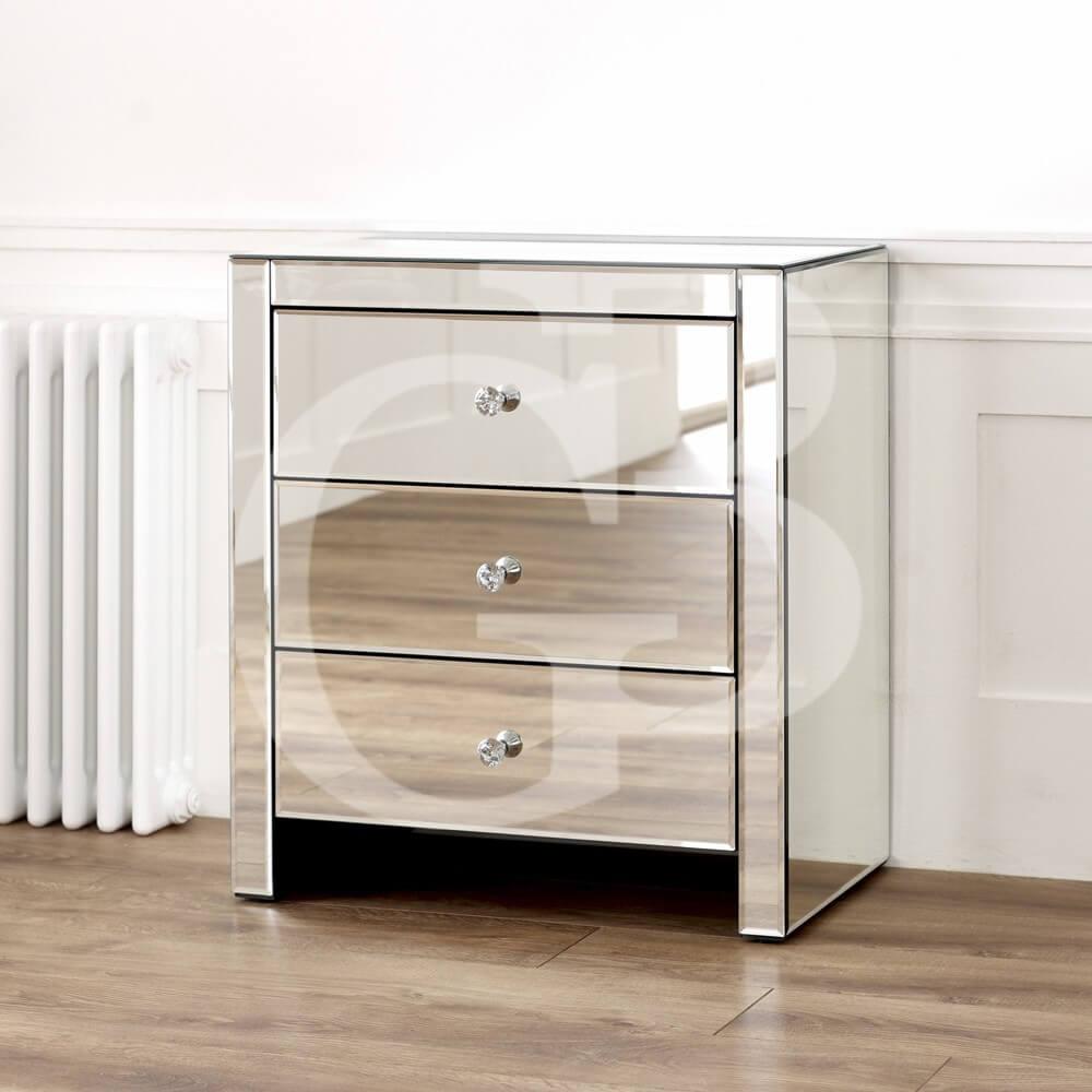 Venetian Mirrored 3 Drawer Wide Bedside