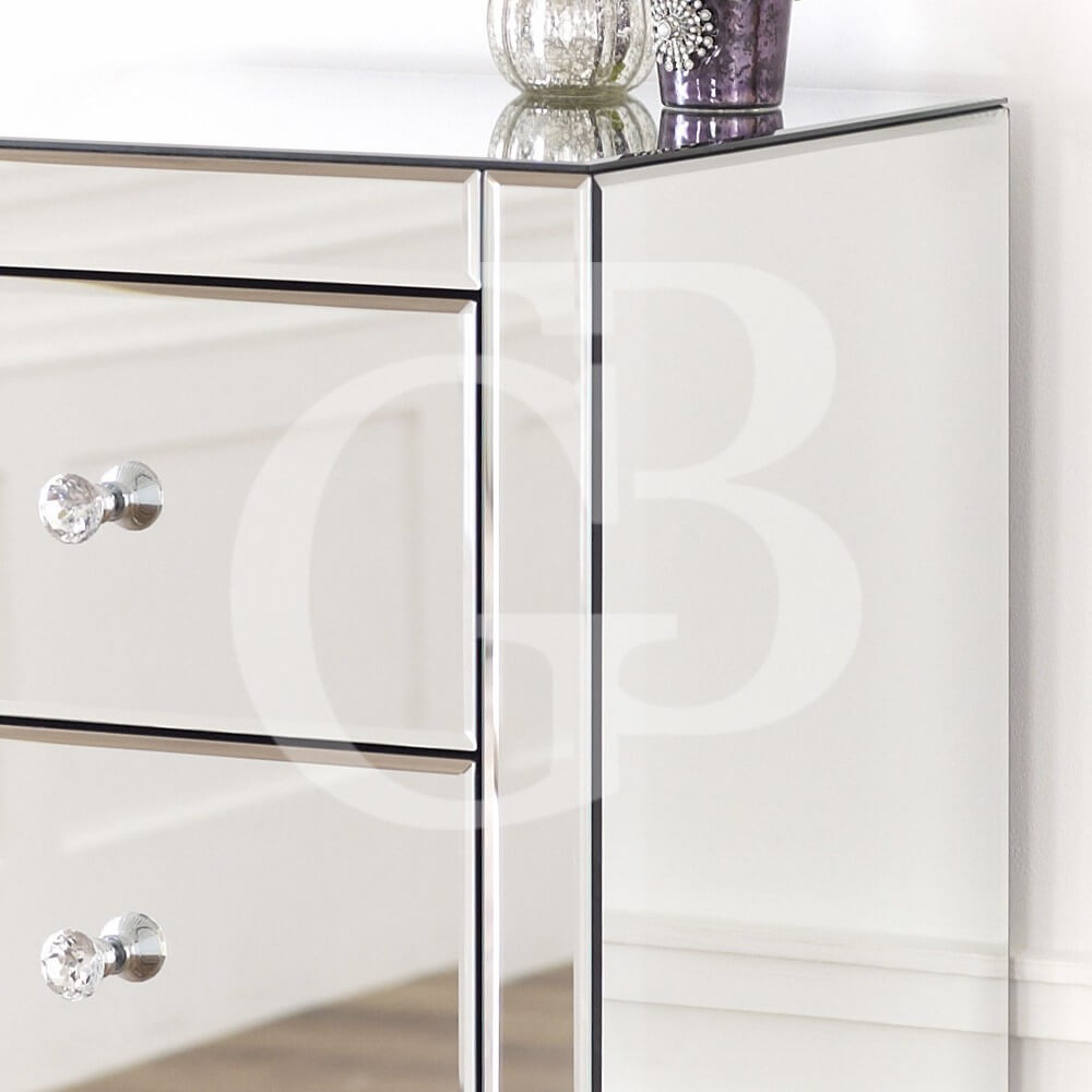Venetian Mirrored Compact 5 Drawer Tallboy