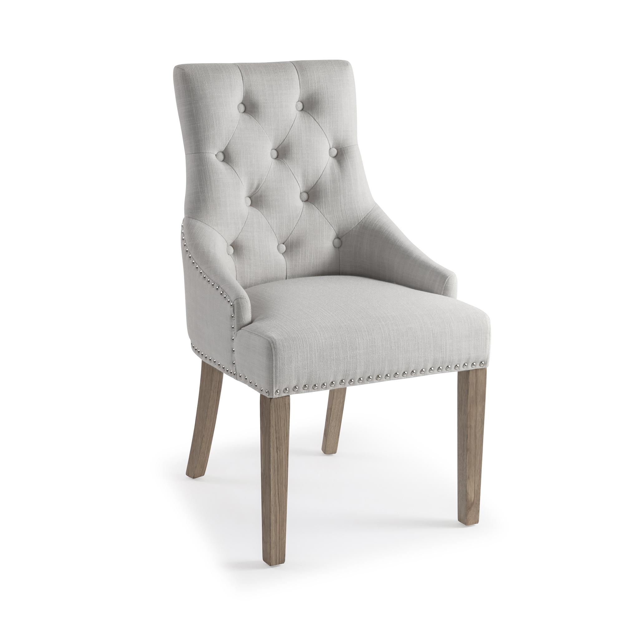 Chelsea Upholstered Scoop Dining Chair – Natural Linen with Hoop – Sets