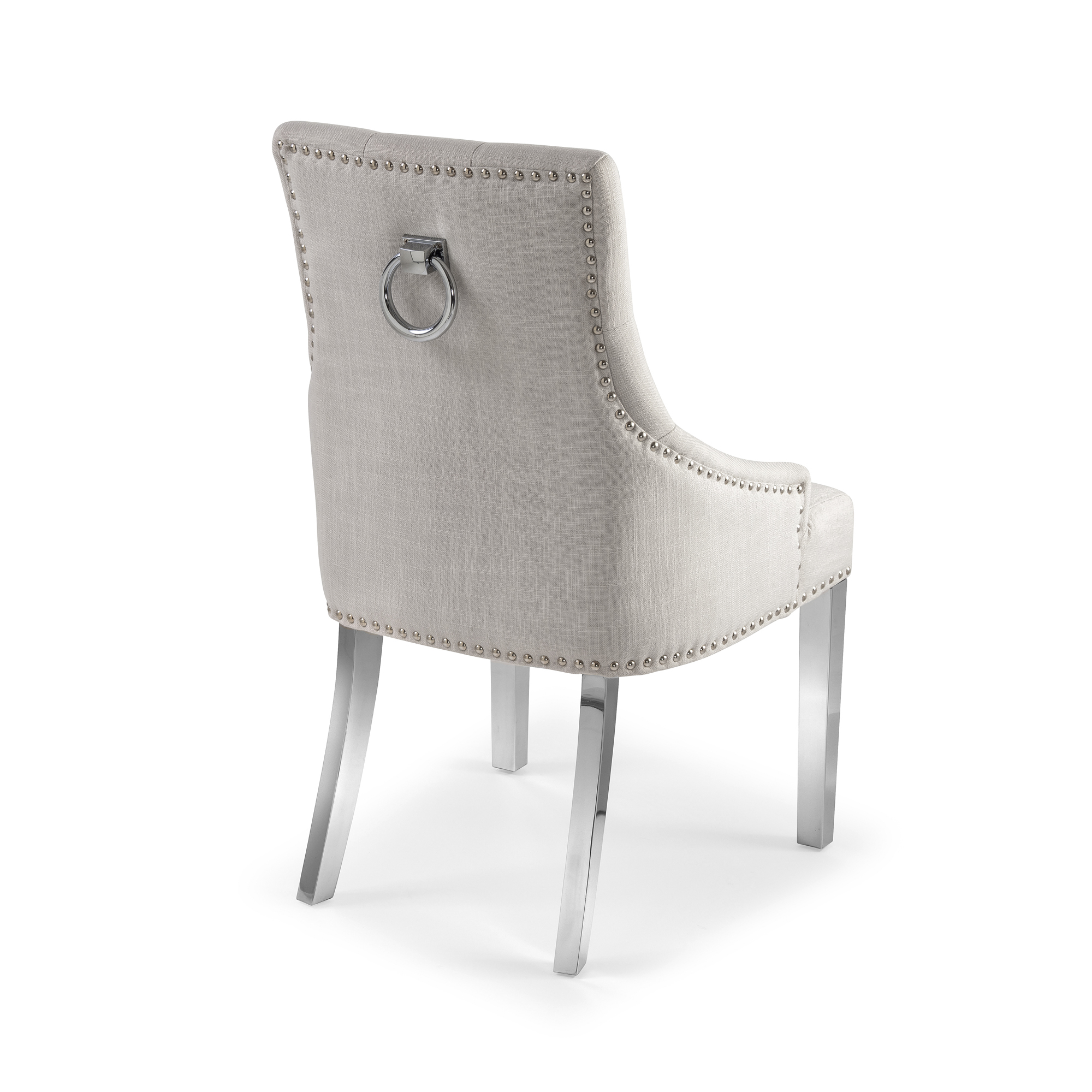 Chelsea Upholstered Scoop Dining Chair In A Natural Linen Fabric with Steel Legs