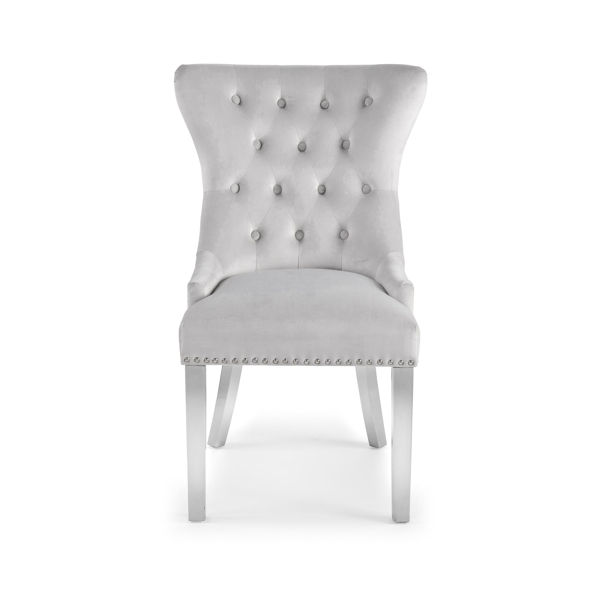 Dove Grey Brushed Velvet Dining Chair with Polished Steel Legs – Set of