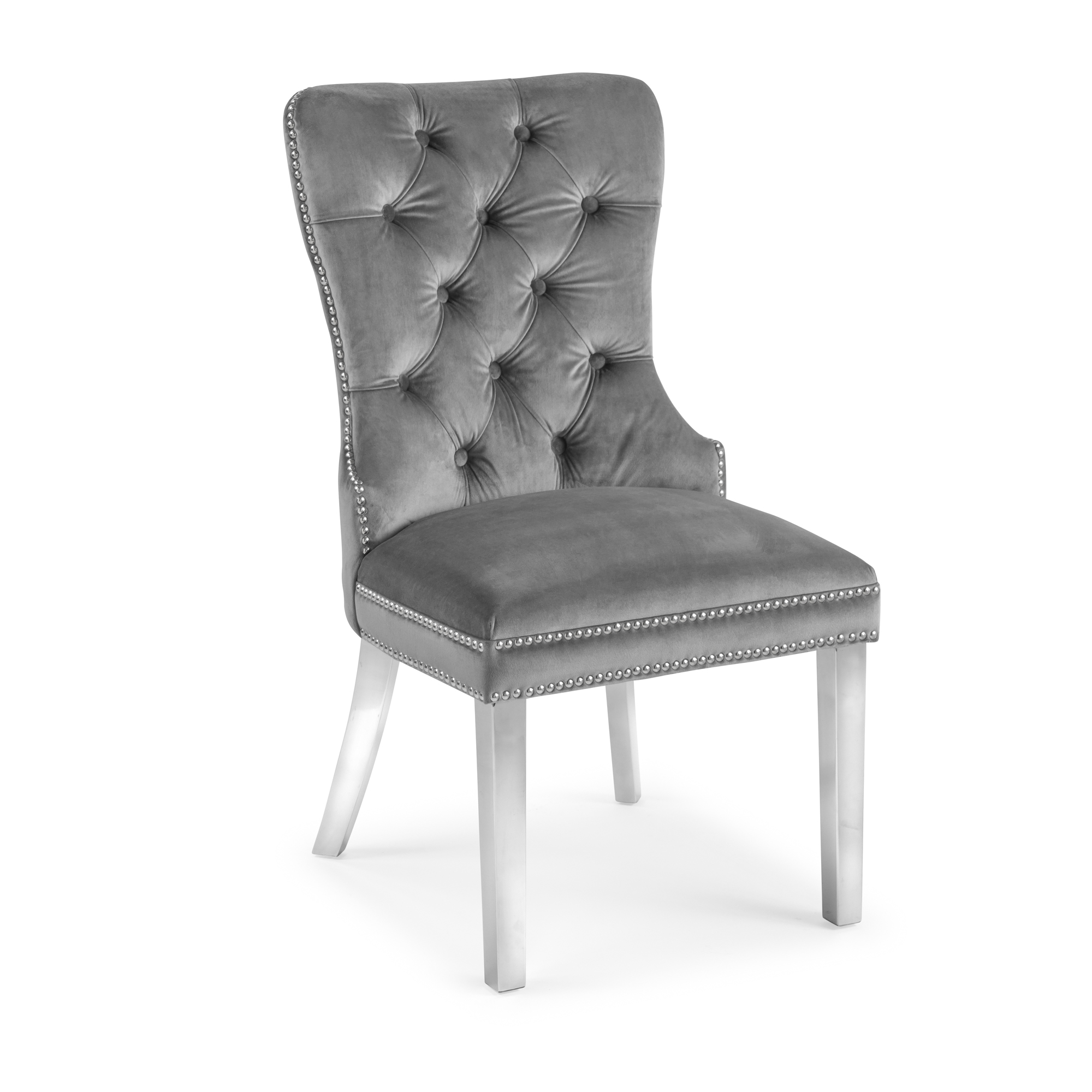 Hale Grey Brushed Velvet Dining Chair with Polished Steel Legs – Set of