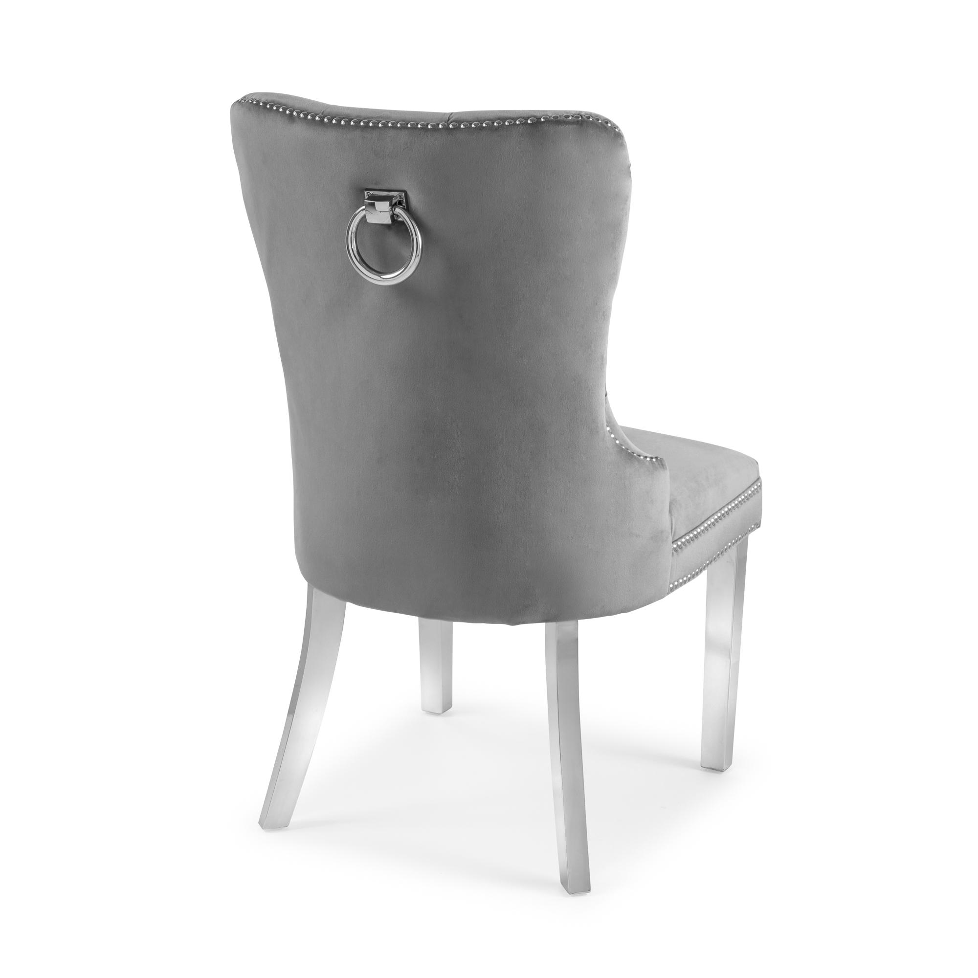 Hale Brushed Velvet Dining Chair – Grey
