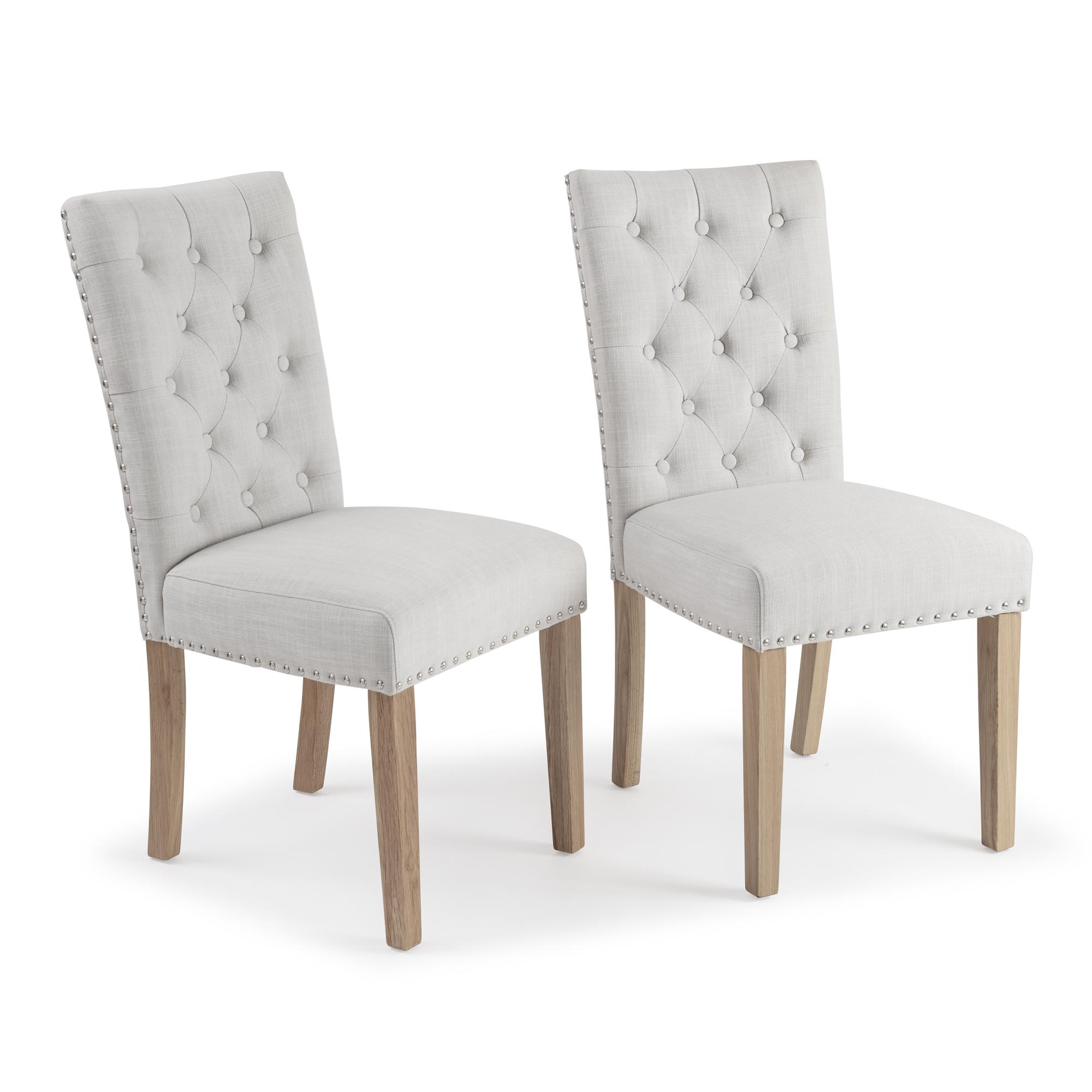 Harrogate Cream Natural Linen Dining Chairs Set Of 2