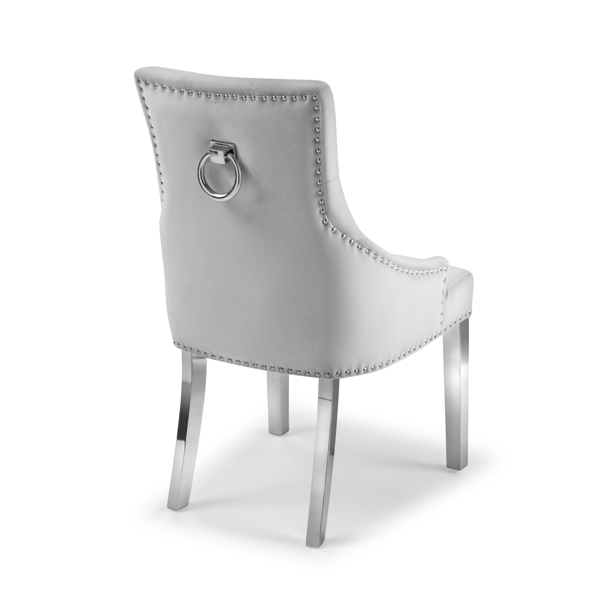 Dove Grey Brushed Velvet Upholstered Scoop Dining Chair with Hoop – Set of