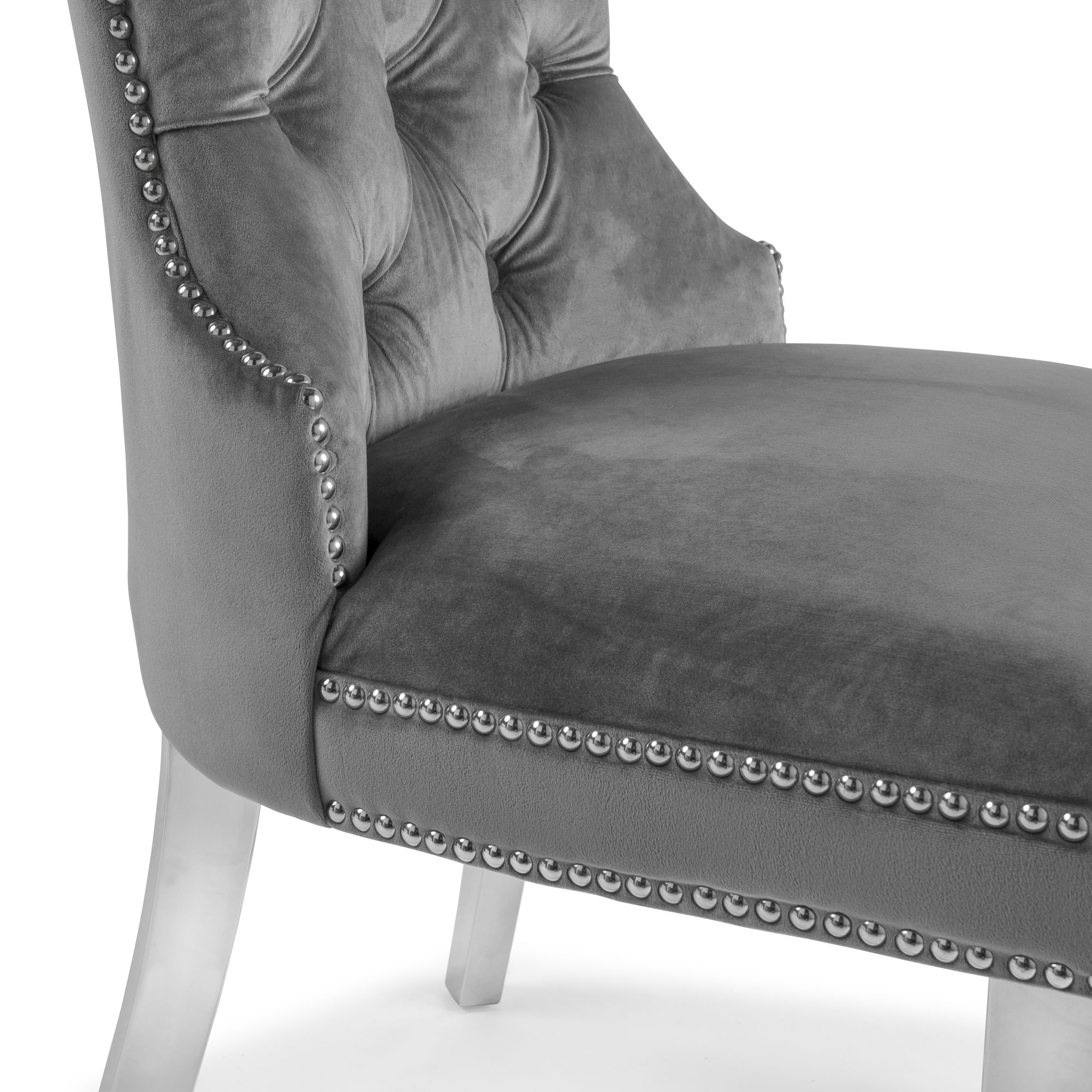 Hale Grey Brushed Velvet Dining Chair with Polished Steel Legs