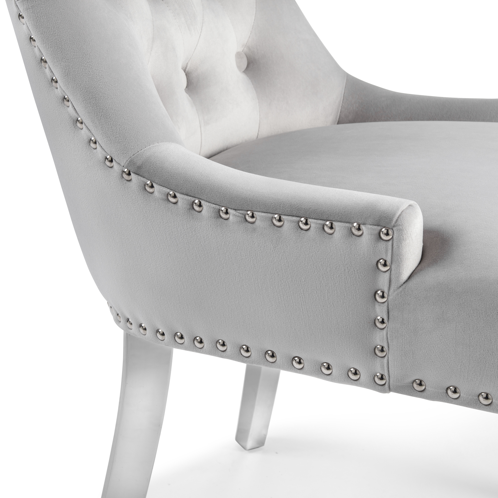Dove Grey Brushed Velvet Dining Chair with Polished Steel Legs