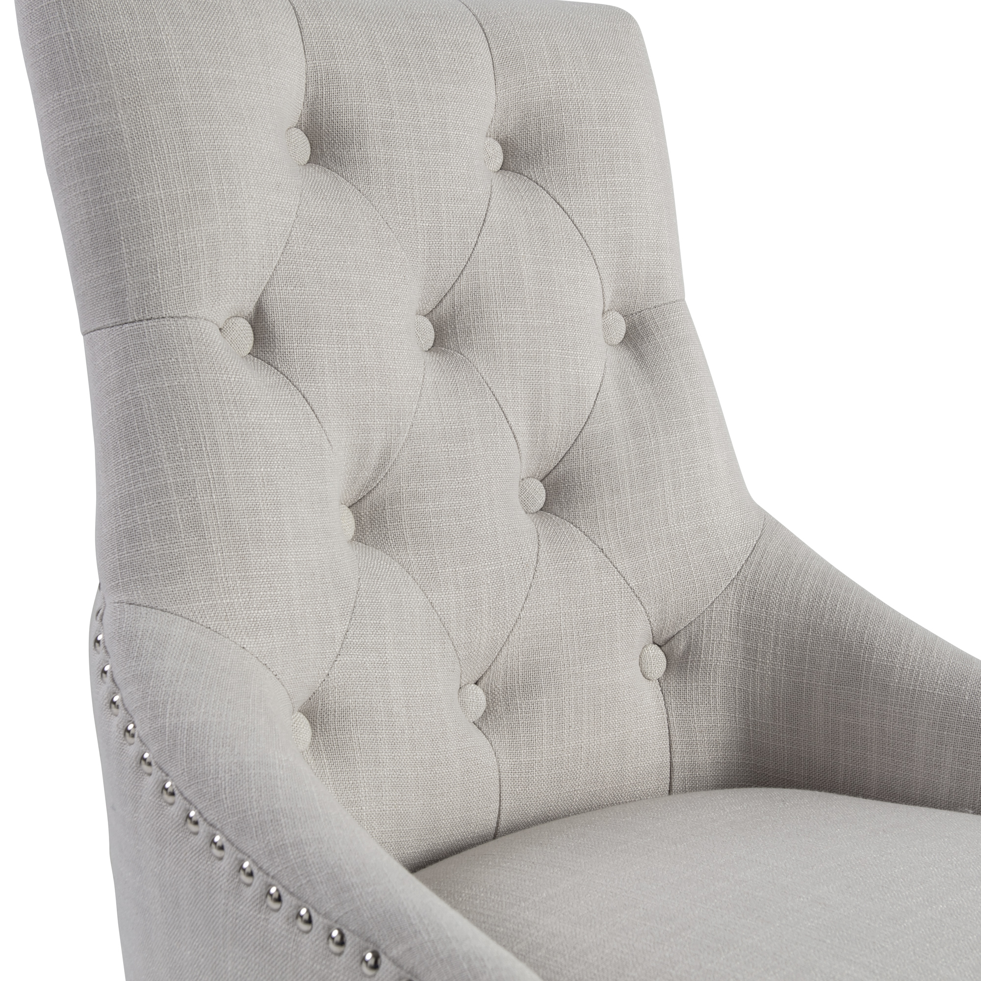 Chelsea Upholstered Scoop Dining Chair In A Natural Linen Fabric with Oak Legs
