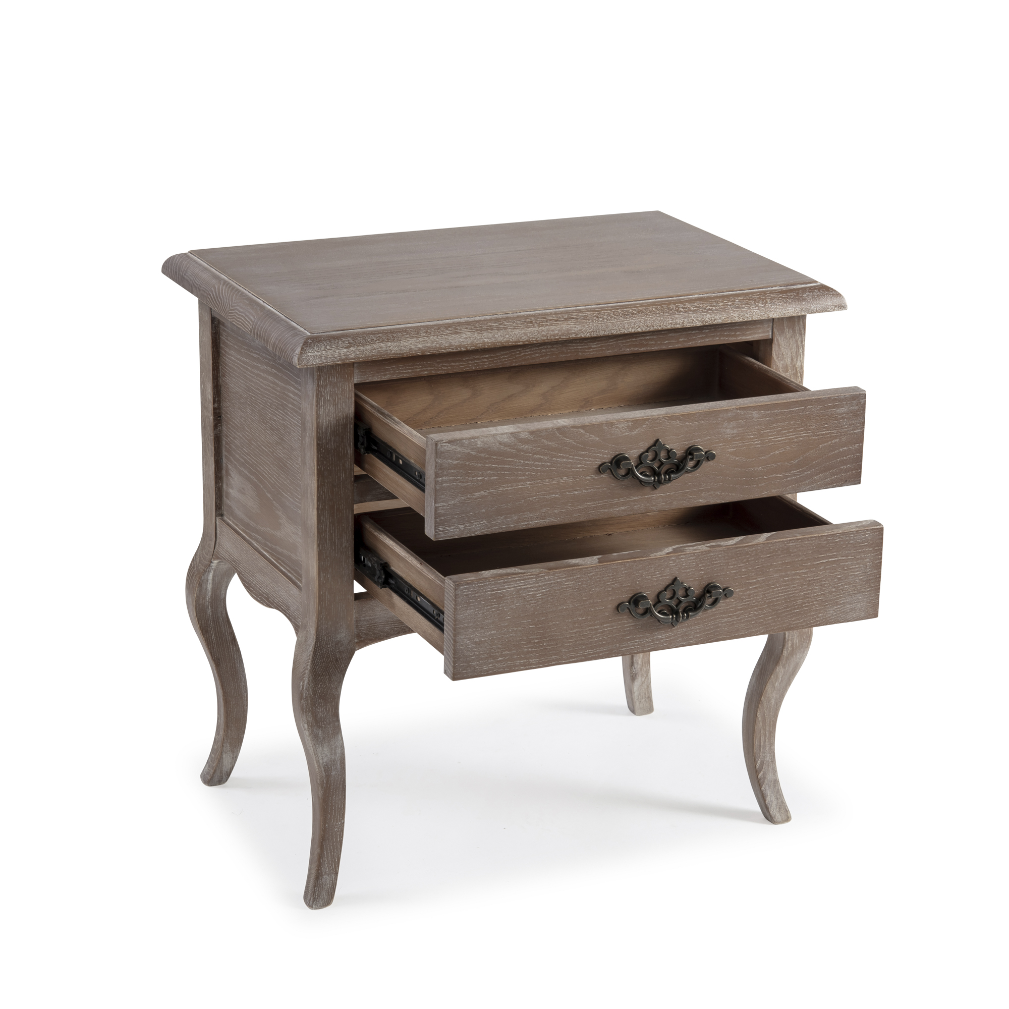 French Weather Limed Ash Two Drawer Bedside Table